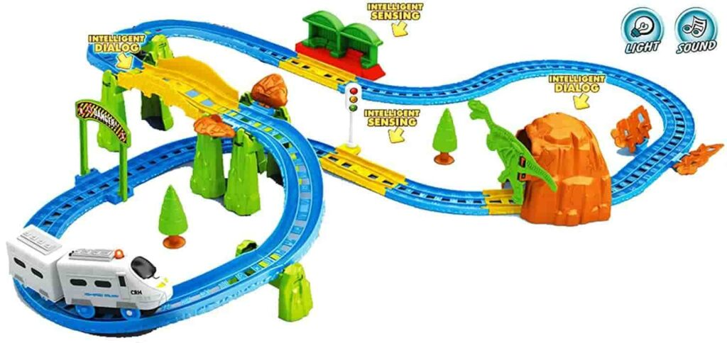 toy train set with nature